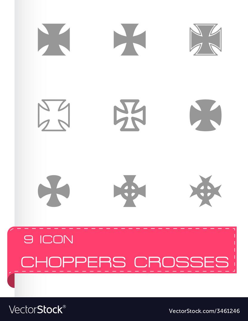 Black choppers crosses icon set vector | Price: 1 Credit (USD $1)