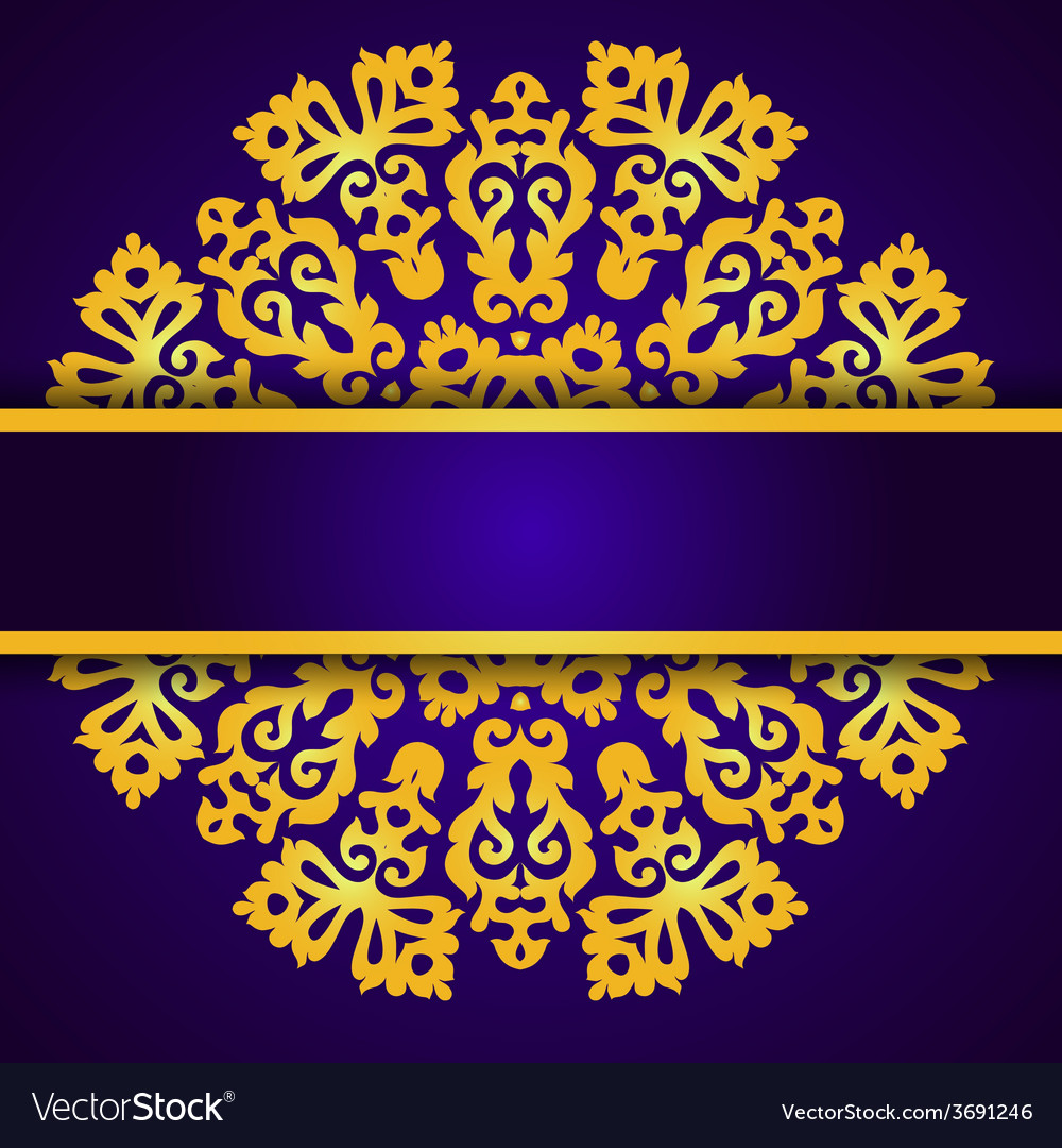 Blue invitation with gold lace round ornament vector   Price: 1 Credit (USD $1)