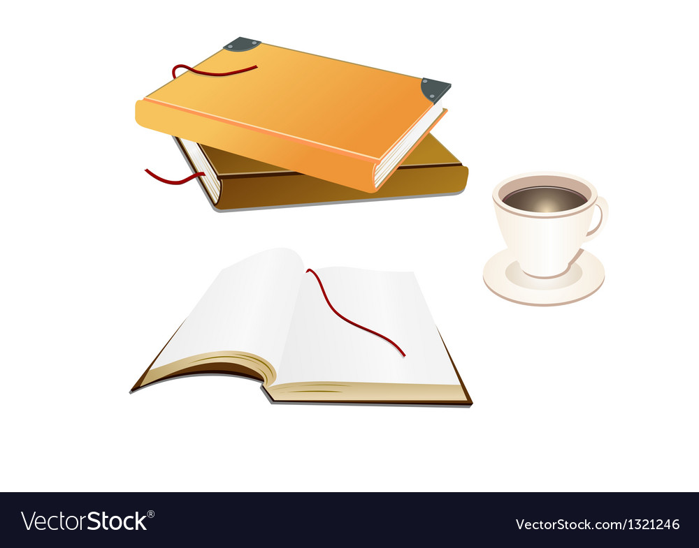 Books and a coffee cup vector | Price: 1 Credit (USD $1)