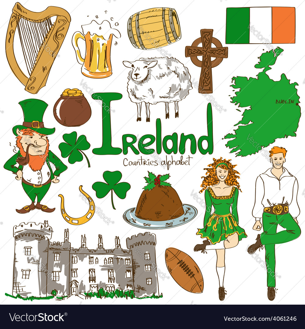 Collection of irish icons vector | Price: 1 Credit (USD $1)