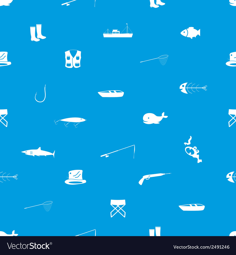 Fishing icons blue and white seamless pattern vector | Price: 1 Credit (USD $1)