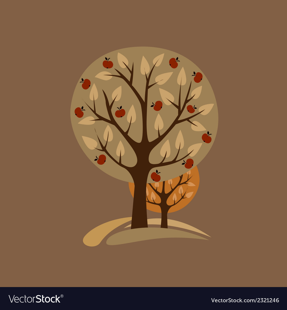 Greeting card with appletrees vector