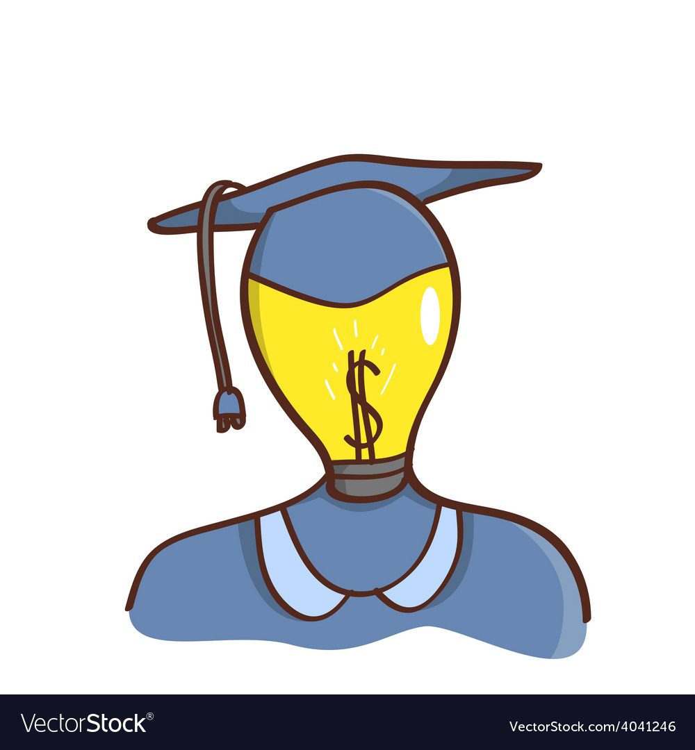 Isolated cartoon light bulb head college graduated vector | Price: 1 Credit (USD $1)