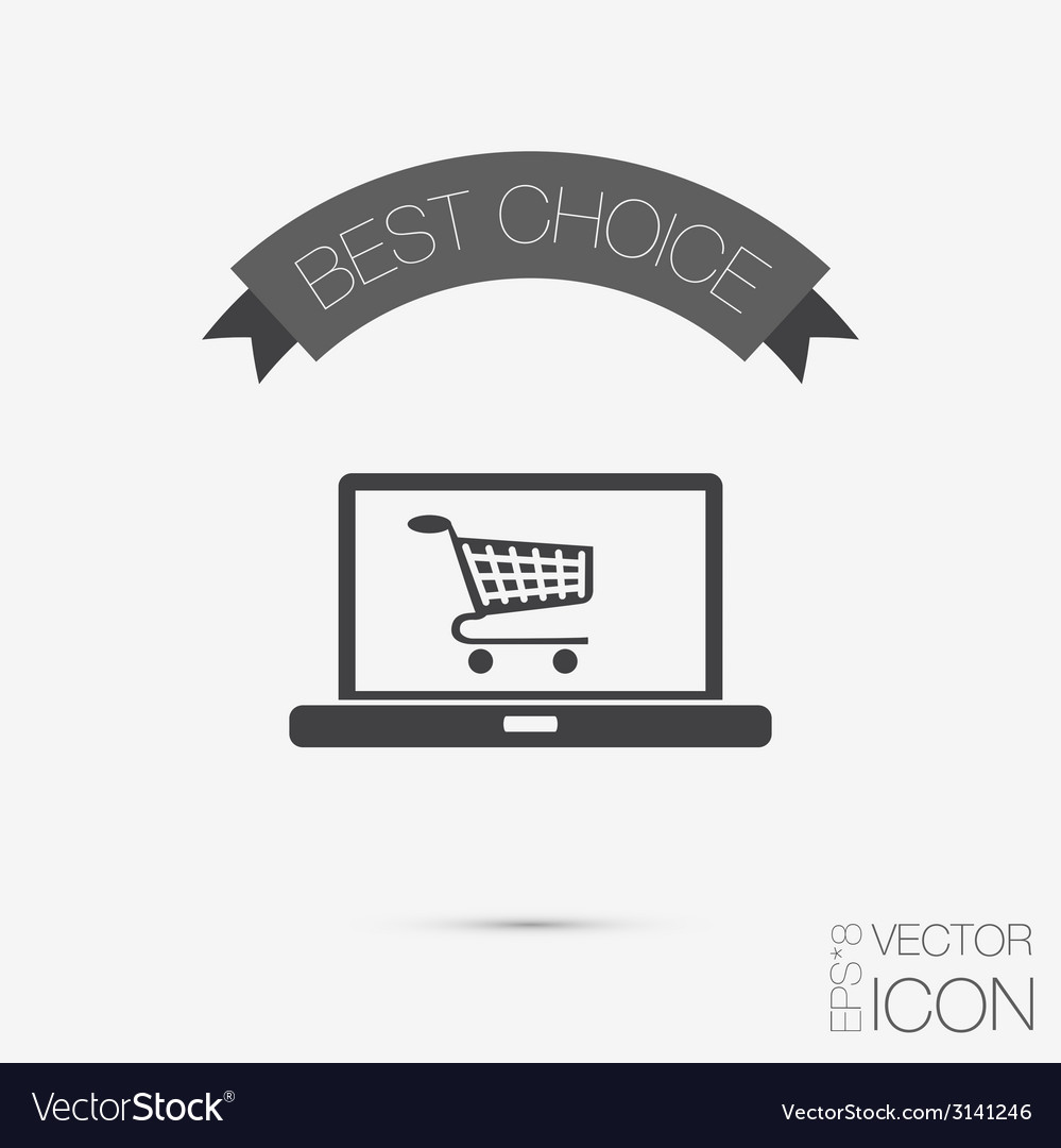 Laptop with symbol shopping cart vector   Price: 1 Credit (USD $1)