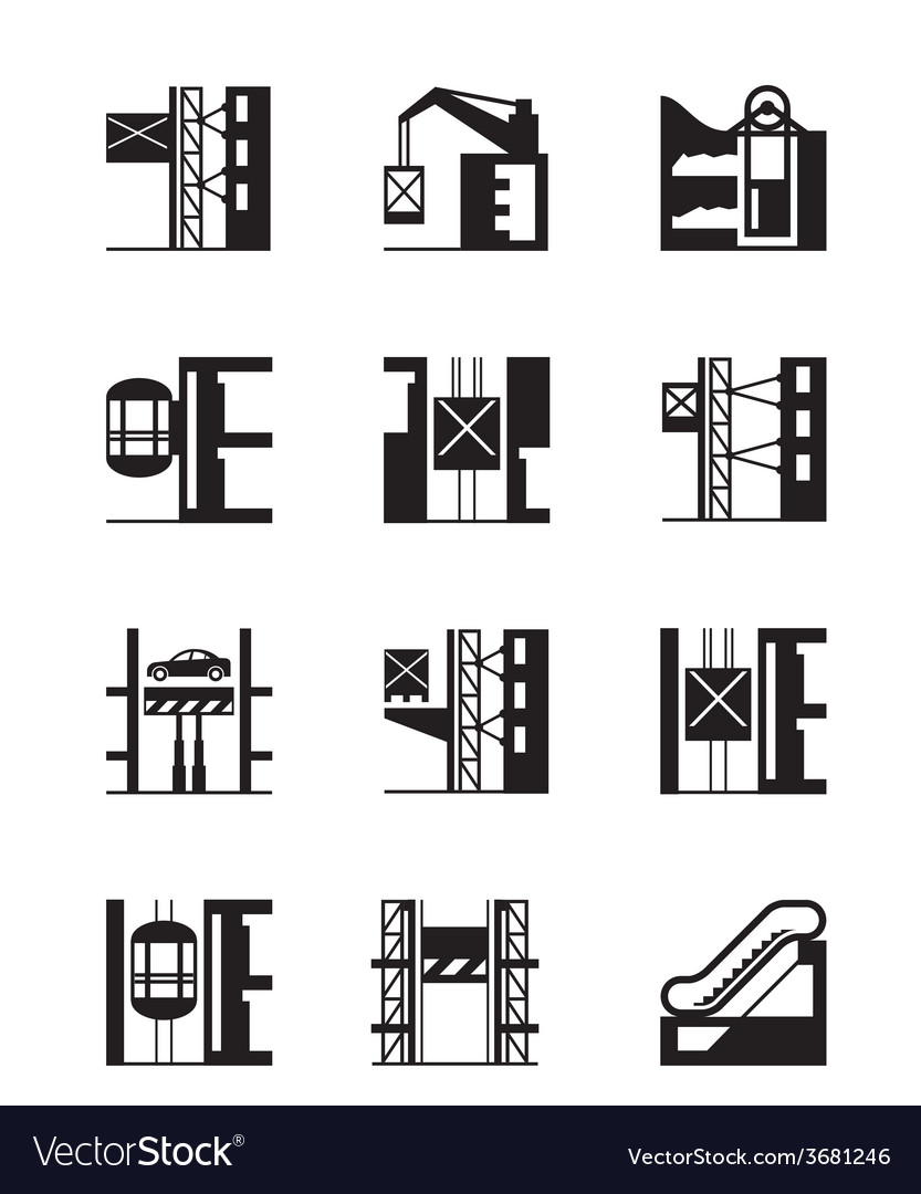 Lifts and elevators icon set vector | Price: 1 Credit (USD $1)