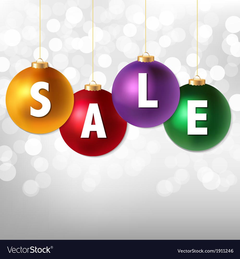 Sale christmas balls and silver bokeh vector | Price: 1 Credit (USD $1)