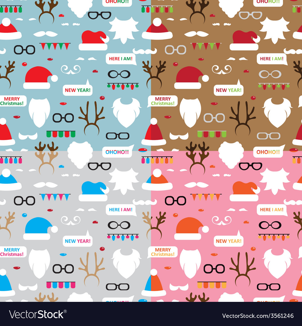 Seamless pattern scrapbooking set santa reindeer vector   Price: 1 Credit (USD $1)