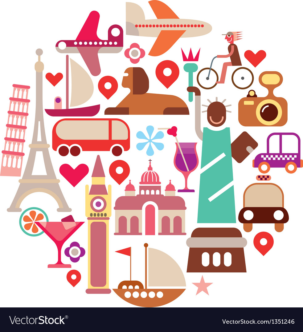 Travel round on white vector | Price: 3 Credit (USD $3)