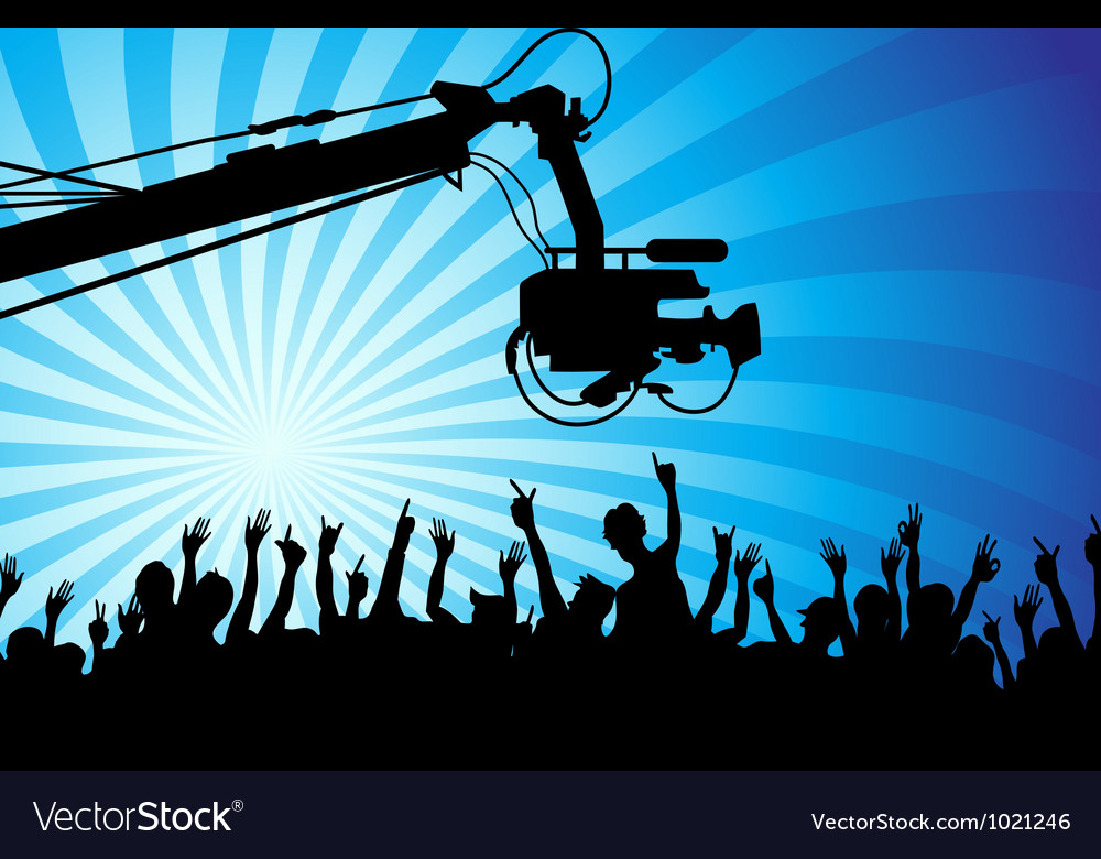 Tv camera with crowds vector | Price: 1 Credit (USD $1)