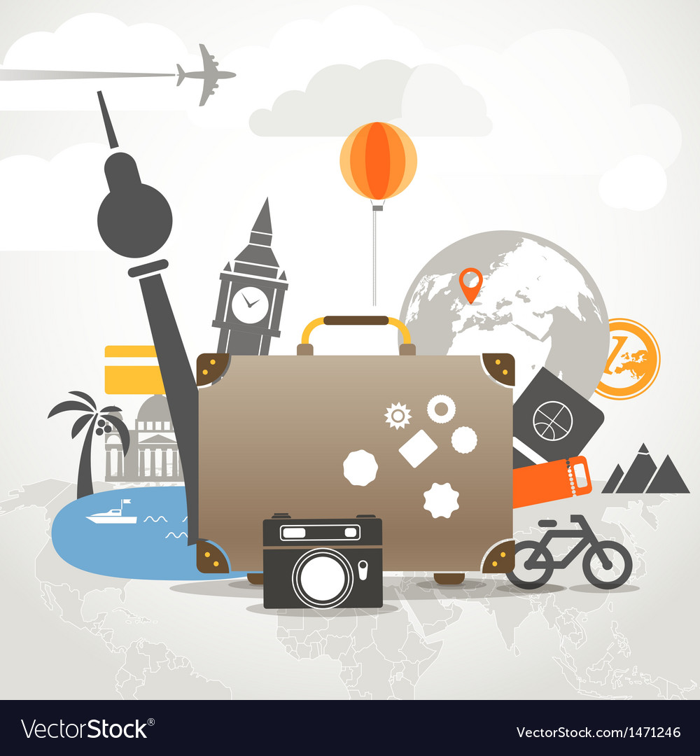 Vacation travelling composition concept with old b vector | Price: 1 Credit (USD $1)