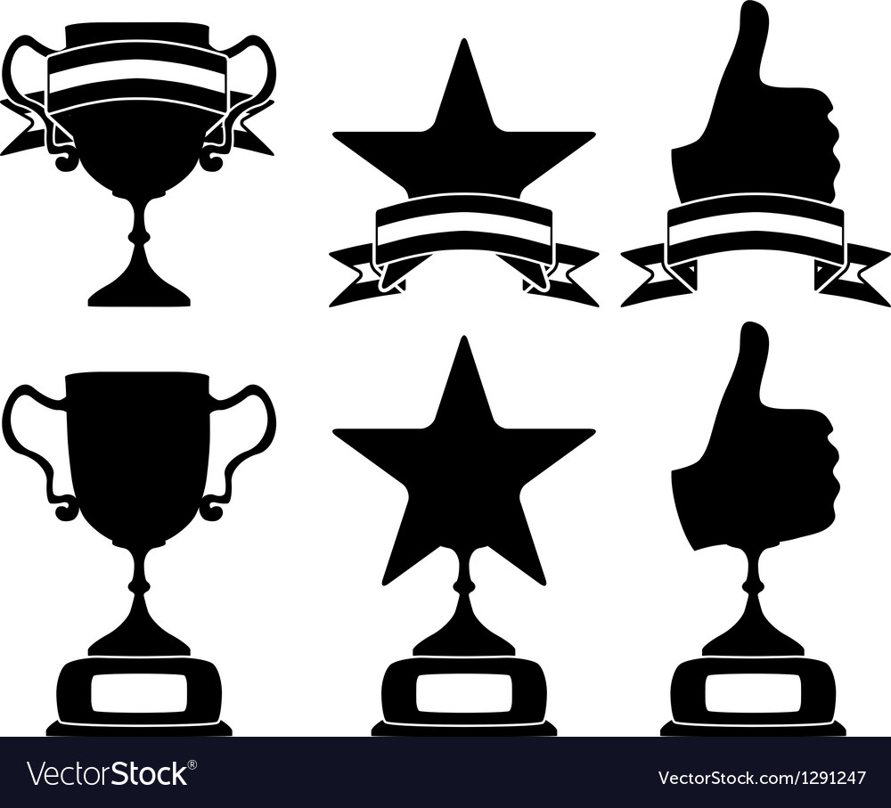 Black trophy and awards icons set vector | Price: 1 Credit (USD $1)