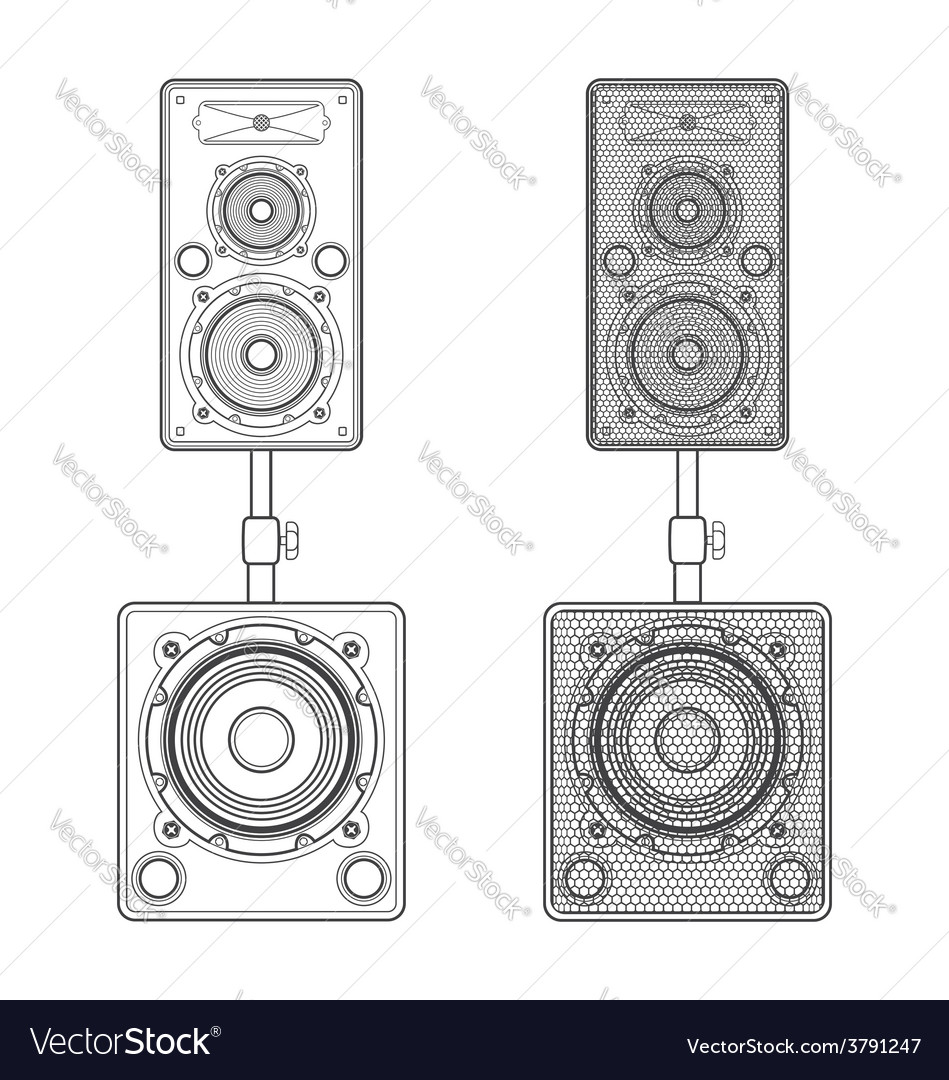 Dark contour loudspeakers on subwoofers technical vector | Price: 1 Credit (USD $1)