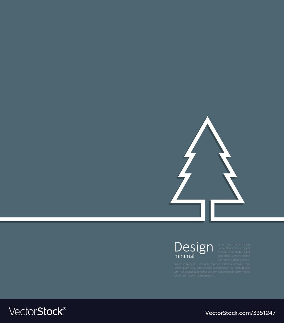 Laconic design of xmas tree fir on cleaness line vector | Price: 1 Credit (USD $1)