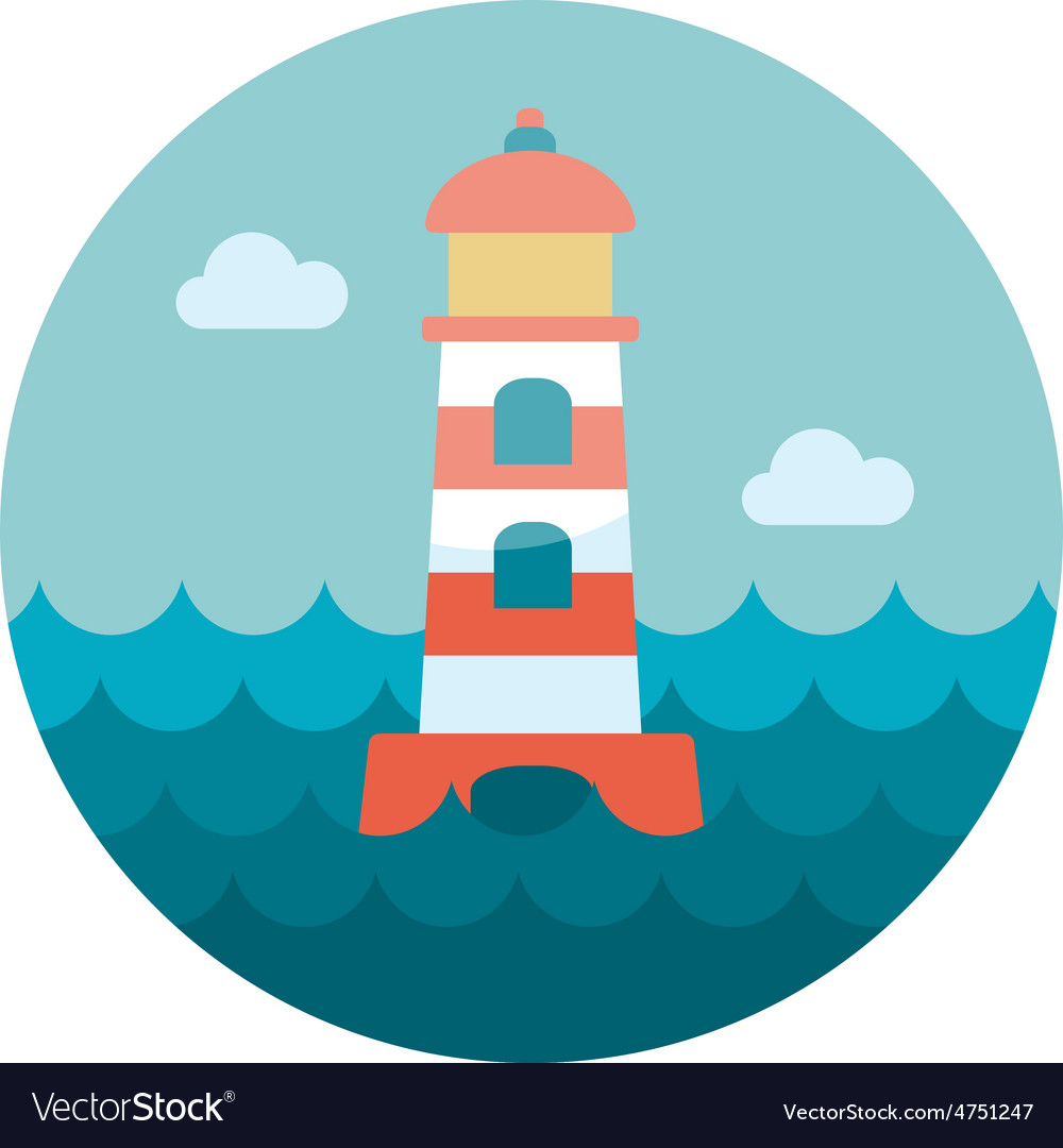Lighthouse flat icon vector | Price: 1 Credit (USD $1)