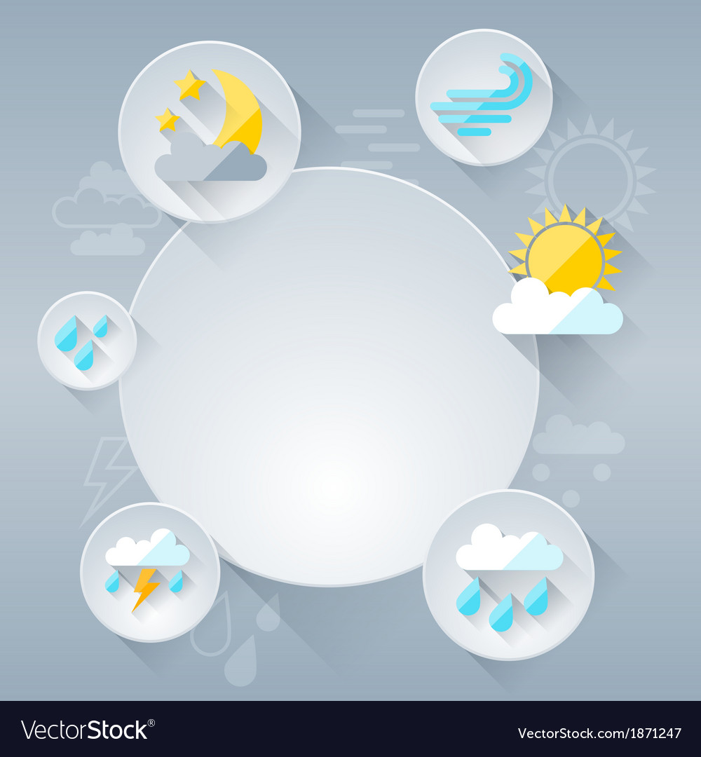 Paper circle banner with weather icons in flat vector | Price: 1 Credit (USD $1)