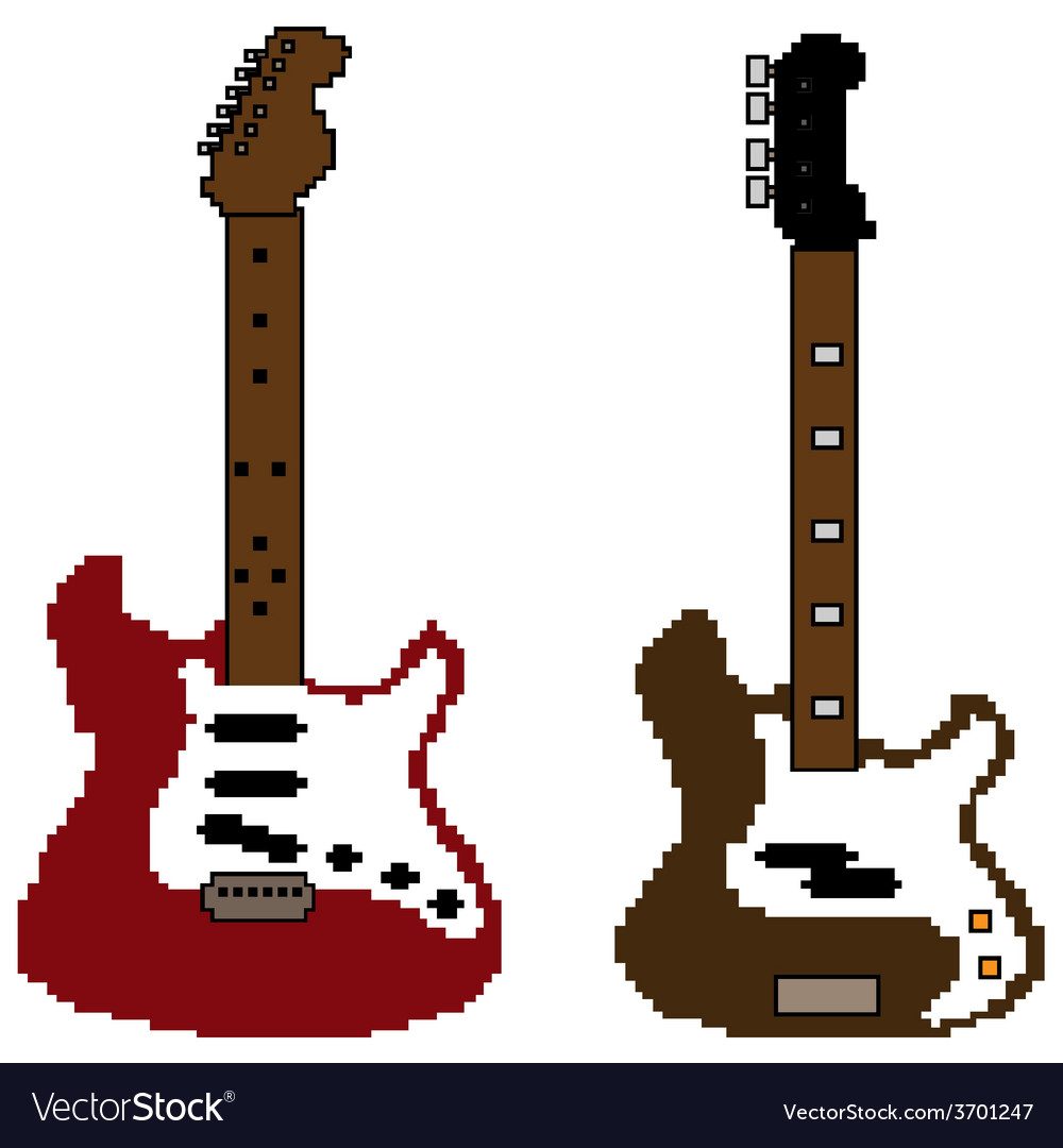 Pixel guitar set2 vector | Price: 1 Credit (USD $1)