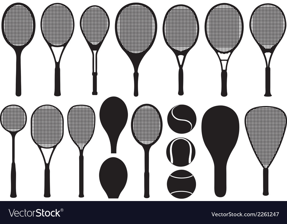 Set of different tennis rackets vector | Price: 1 Credit (USD $1)