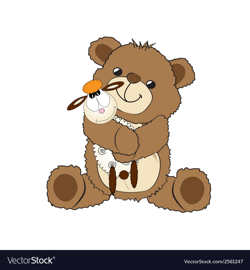 Teddy bear playing with his toy a little sheep vector | Price: 1 Credit (USD $1)