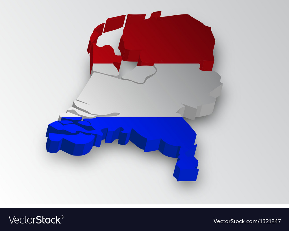 Three dimensional map of dutch in flag colors vector | Price: 1 Credit (USD $1)