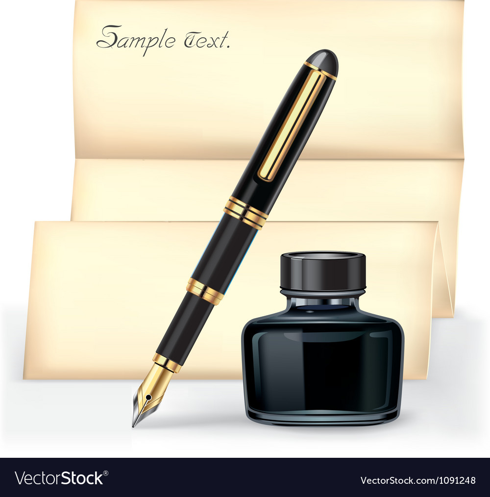 Black fountain pen and the ink bottle vector | Price: 1 Credit (USD $1)