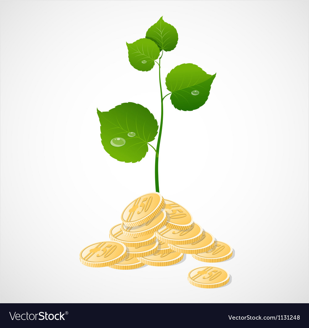 Coins and plant vector | Price: 1 Credit (USD $1)
