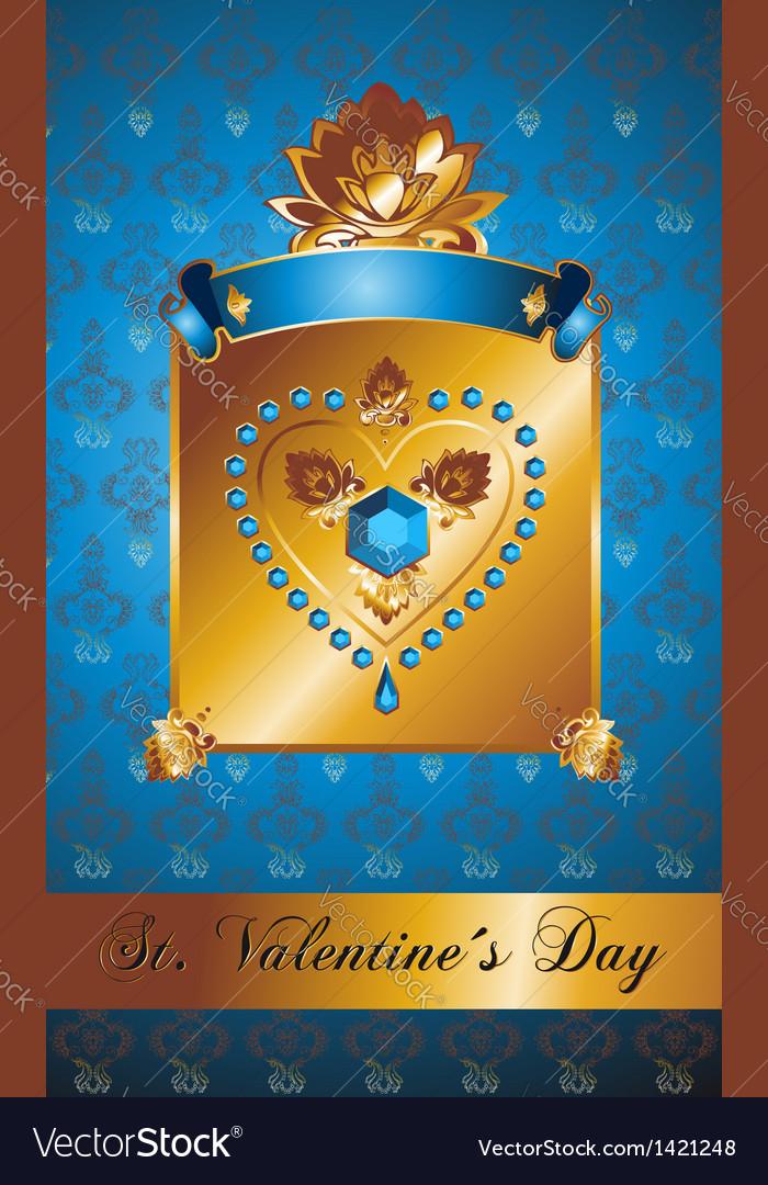 Golden valentine background with diamond heart vector | Price: 1 Credit (USD $1)