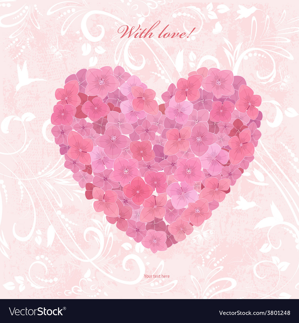 Invitation card with love a flower heart of vector   Price: 1 Credit (USD $1)