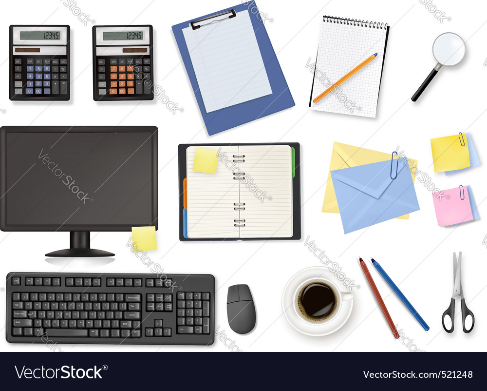 Mega office supplies set vector | Price: 3 Credit (USD $3)