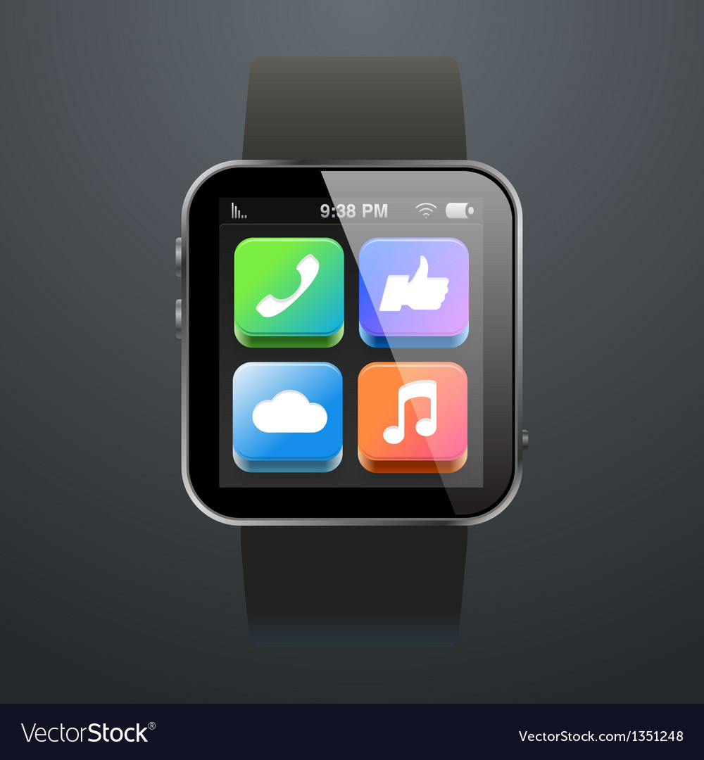Modern watch with app icons vector | Price: 1 Credit (USD $1)