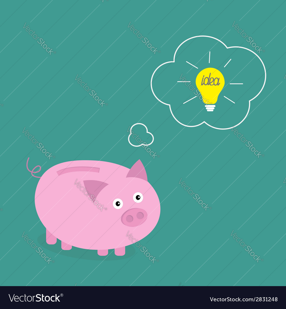 Piggy bank dream about idea light bulb think bubbl vector | Price: 1 Credit (USD $1)