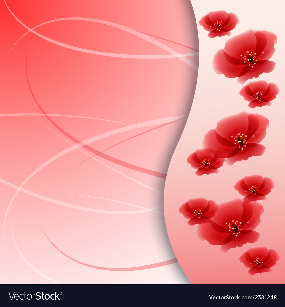 Poppy flowers on the greeting card vector | Price: 1 Credit (USD $1)