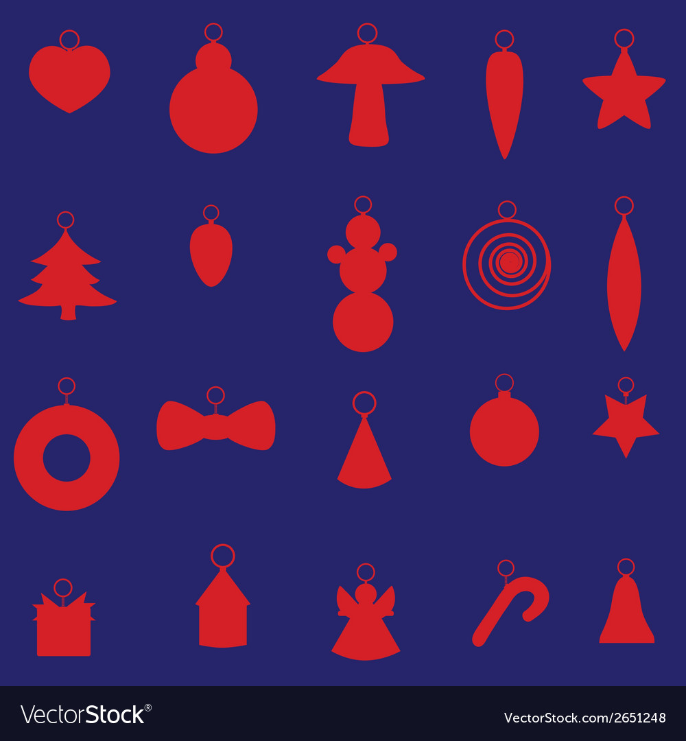 Red christmas decoration set eps10 vector | Price: 1 Credit (USD $1)