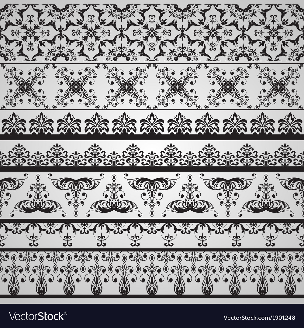 Seamless floral retro borders vector | Price: 1 Credit (USD $1)