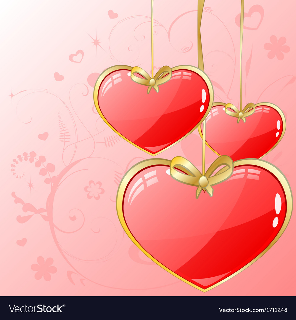 Volume hearts with gold ribbon vector | Price: 1 Credit (USD $1)