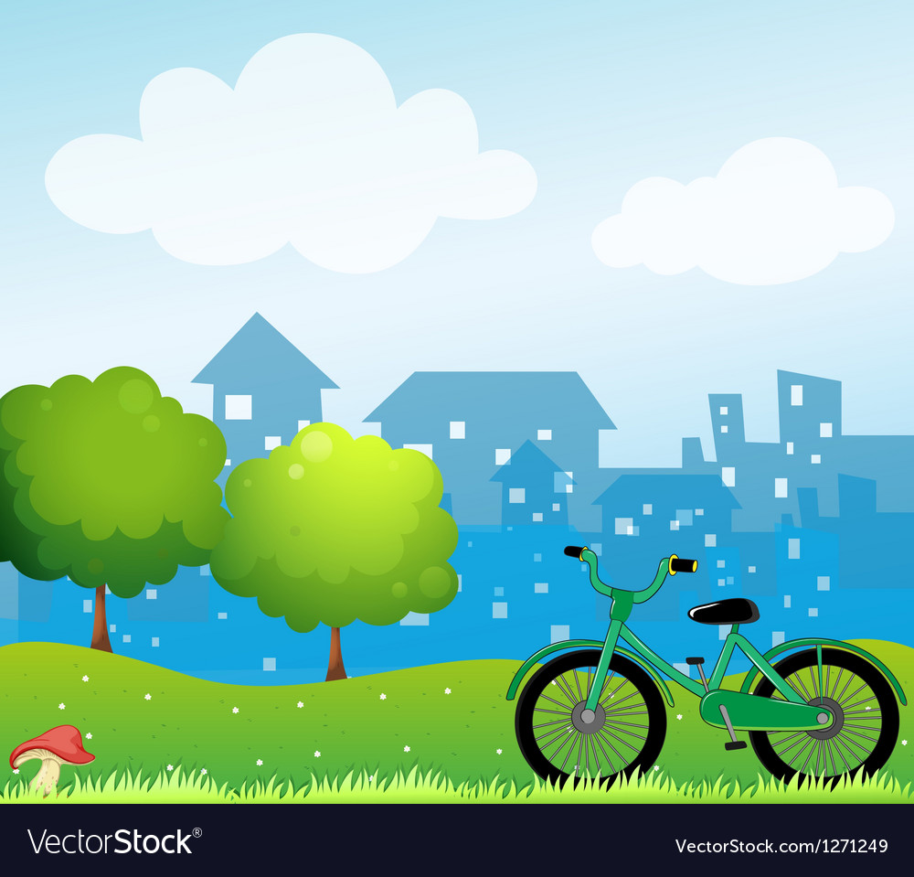 A bicycle in front of the village vector | Price: 1 Credit (USD $1)