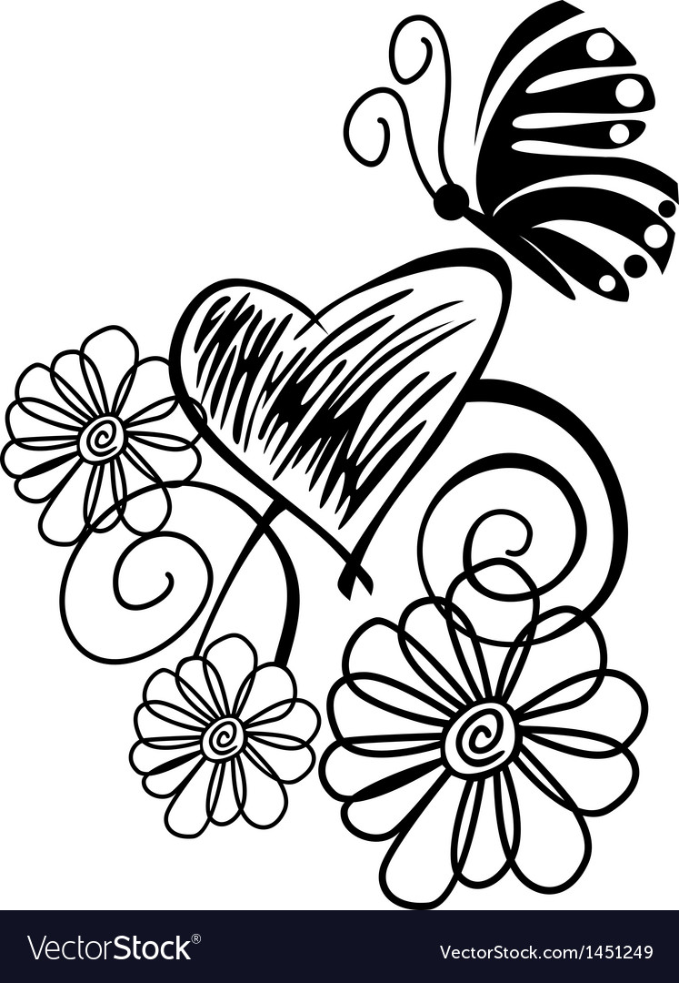 Butterflies flowers vector | Price: 1 Credit (USD $1)