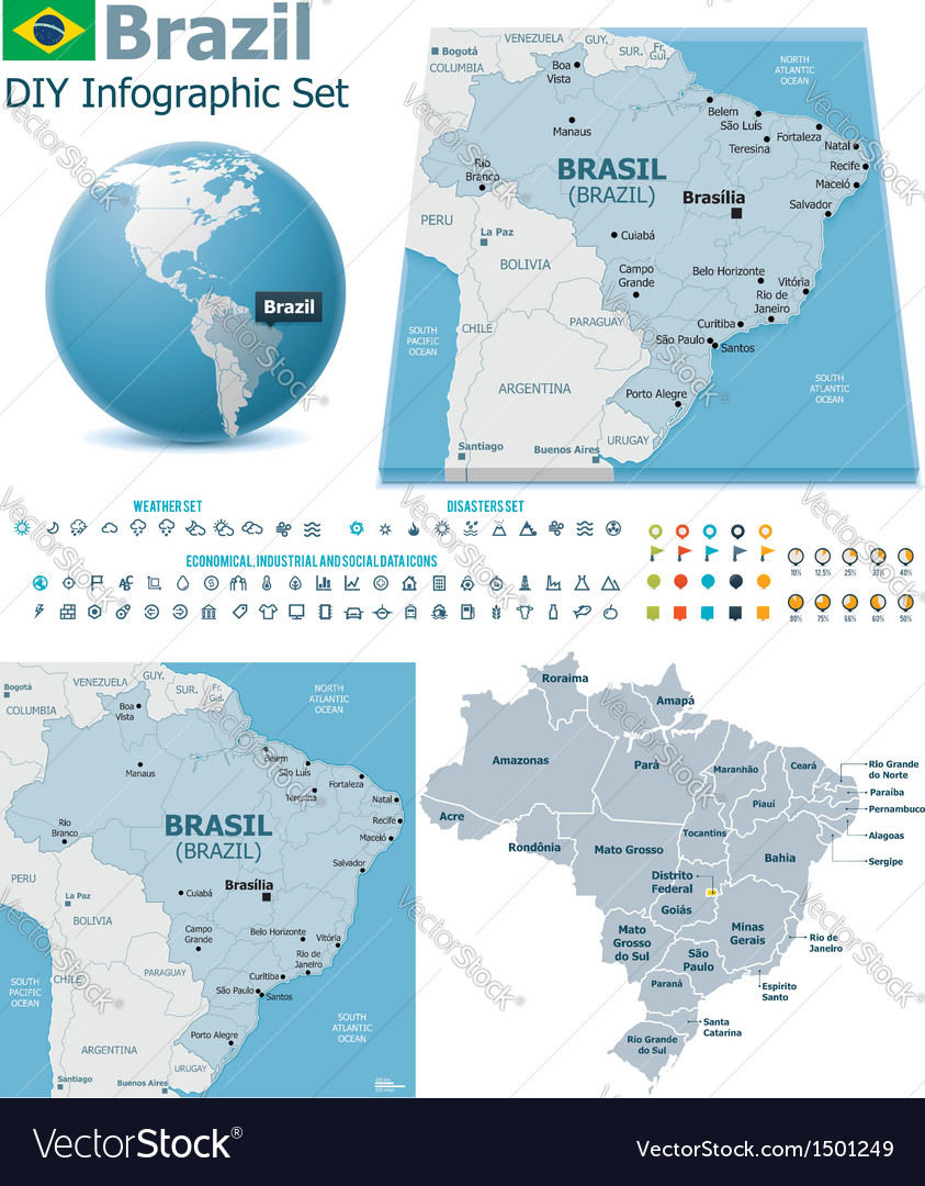 Federative republic of brazil maps with markers vector | Price: 3 Credit (USD $3)