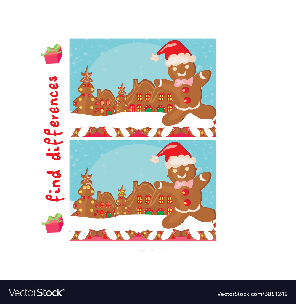 Find differences - gingerbread santa vector | Price: 1 Credit (USD $1)