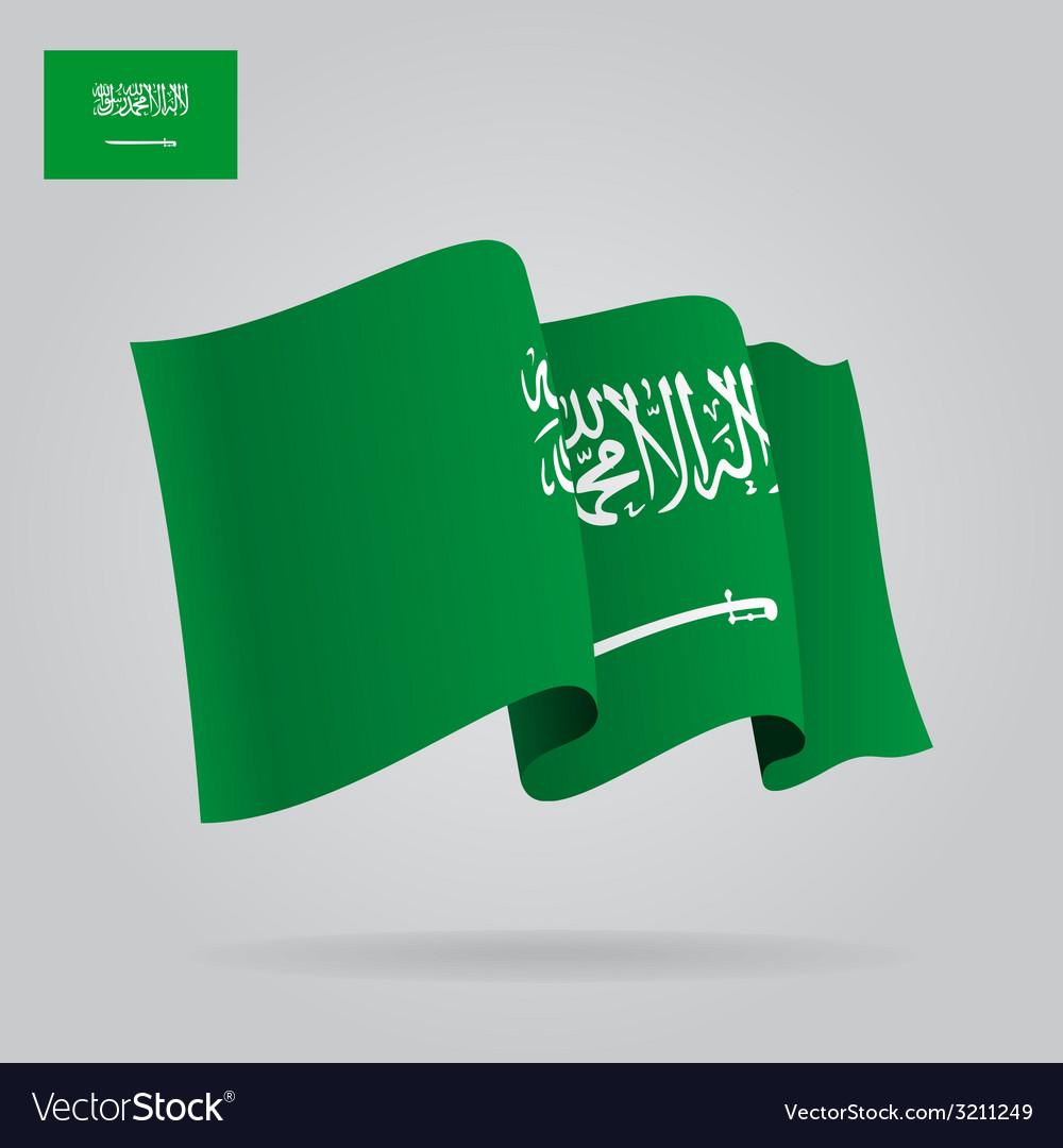 Flat and waving saudi arabia flag vector   Price: 1 Credit (USD $1)