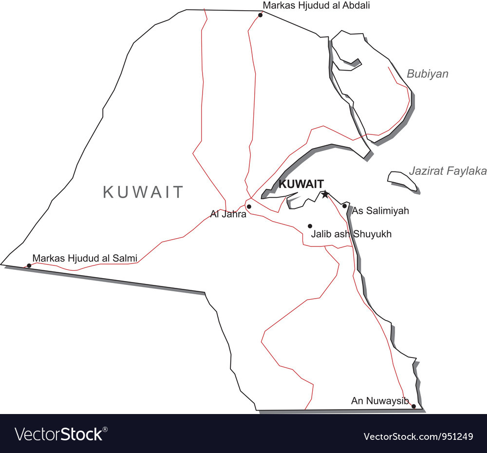 Kuwait black white map vector | Price: 1 Credit (USD $1)
