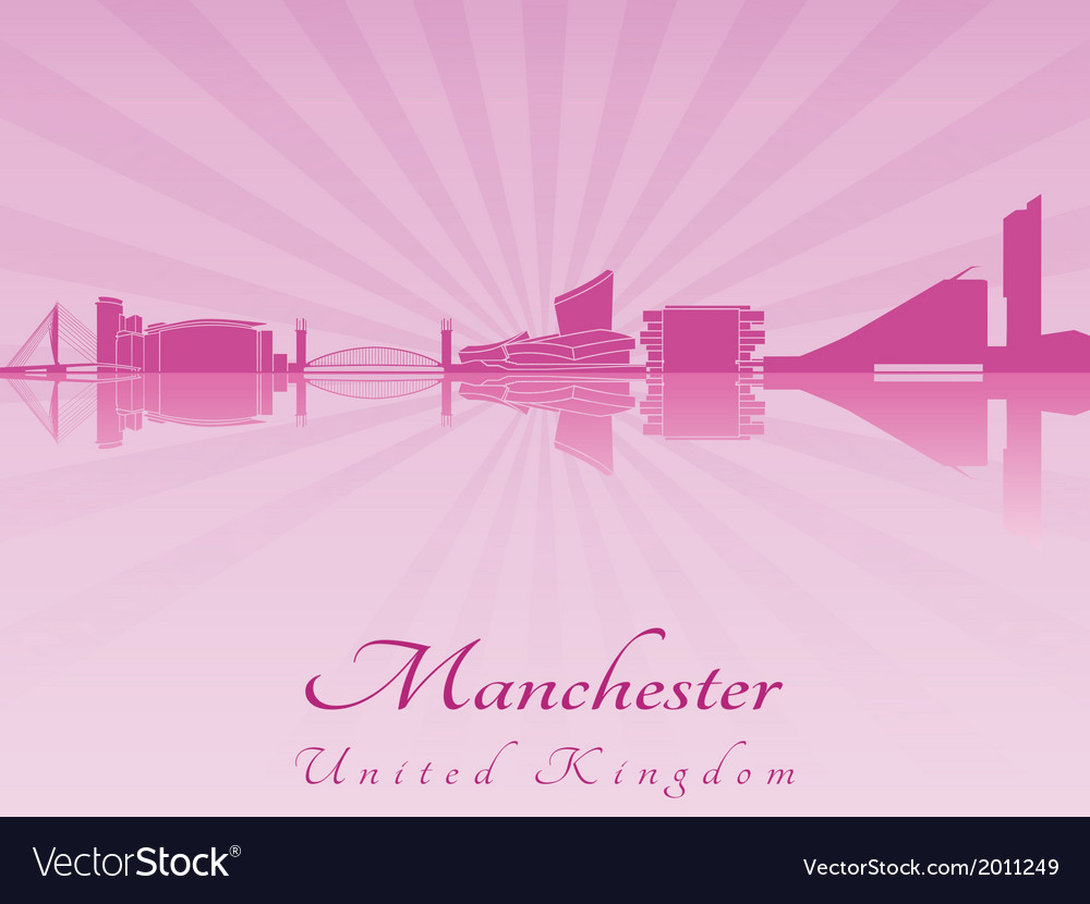 Manchester skyline in purple radiant orchid vector | Price: 1 Credit (USD $1)