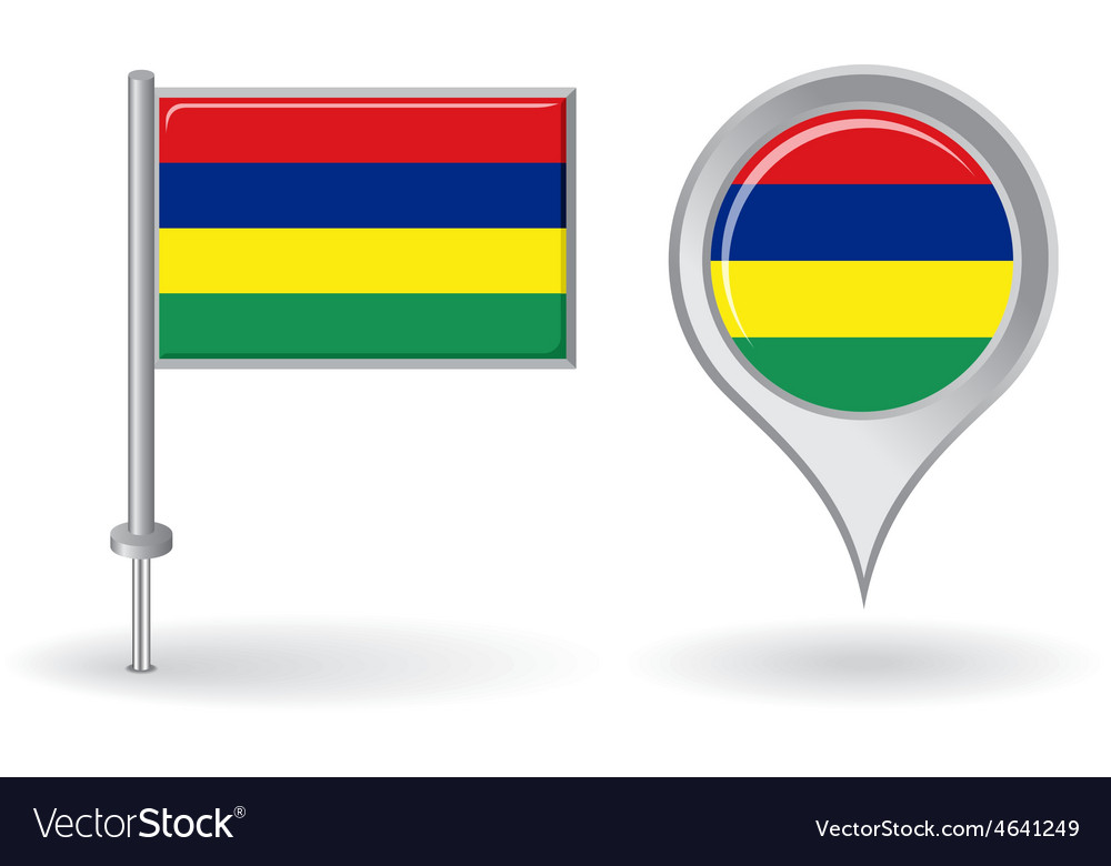 Mauritius pin icon and map pointer flag vector   Price: 1 Credit (USD $1)