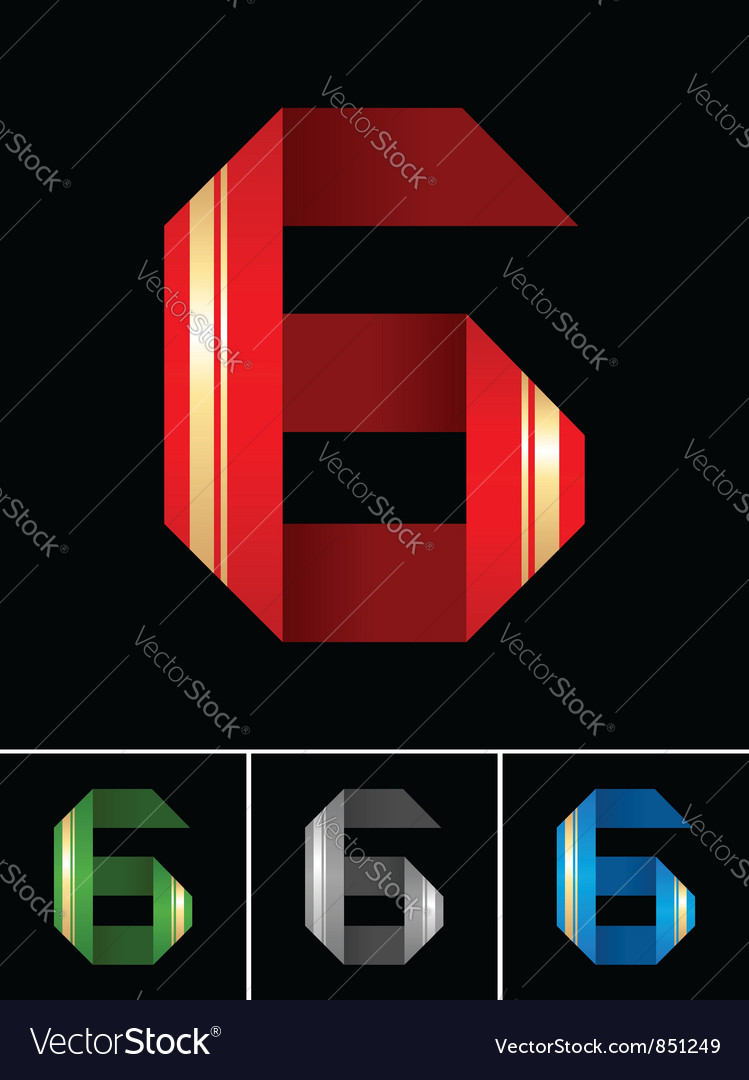 Numeral of paper tape - 6 vector | Price: 1 Credit (USD $1)