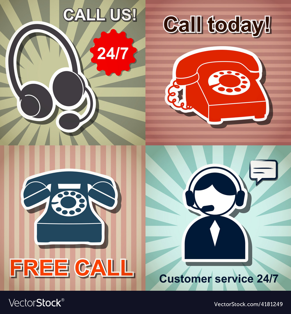 Set of retro phone banners vector | Price: 1 Credit (USD $1)