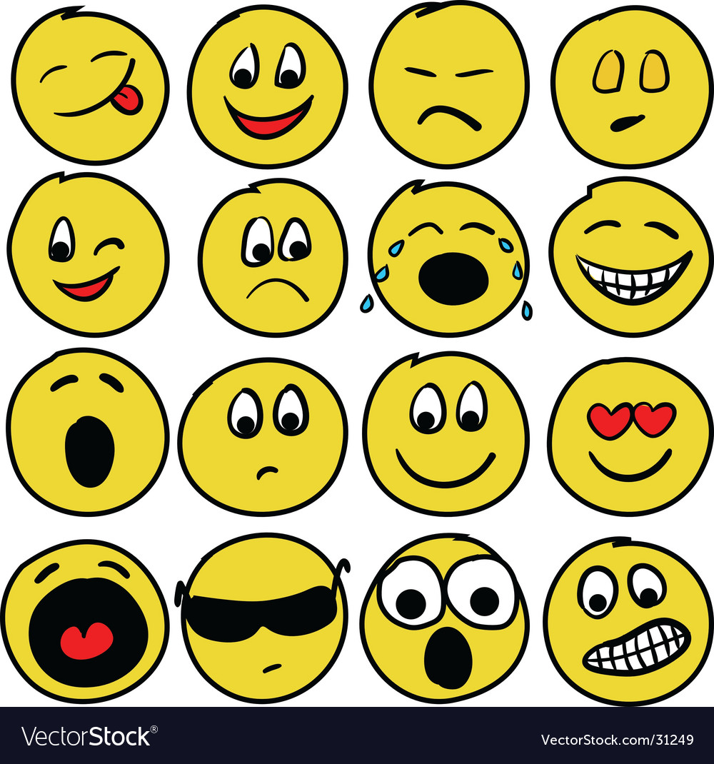 Sixteen smiles vector | Price: 1 Credit (USD $1)