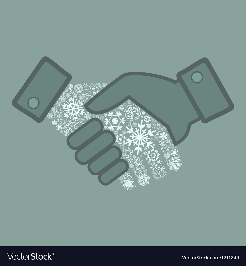 Snowflake hand shake vector | Price: 1 Credit (USD $1)