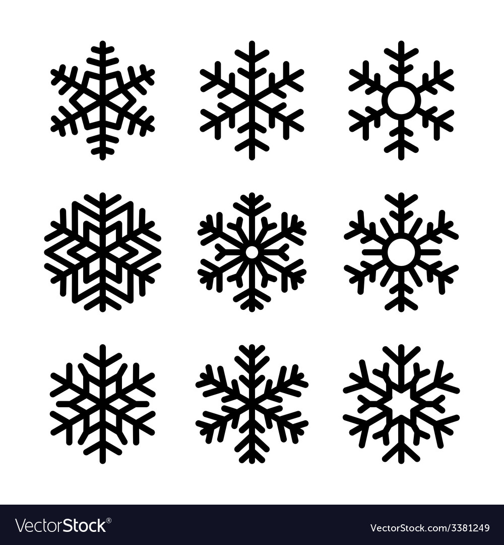 Snowflake icons set on white background vector | Price: 1 Credit (USD $1)