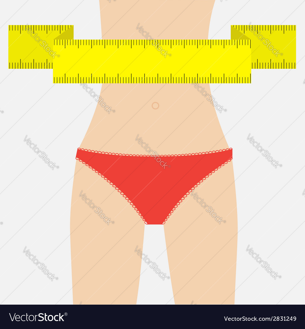 Woman figure waist red underwear measuring tape vector | Price: 1 Credit (USD $1)
