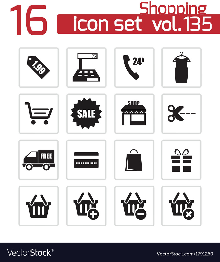 Black shopping icons set vector | Price: 1 Credit (USD $1)
