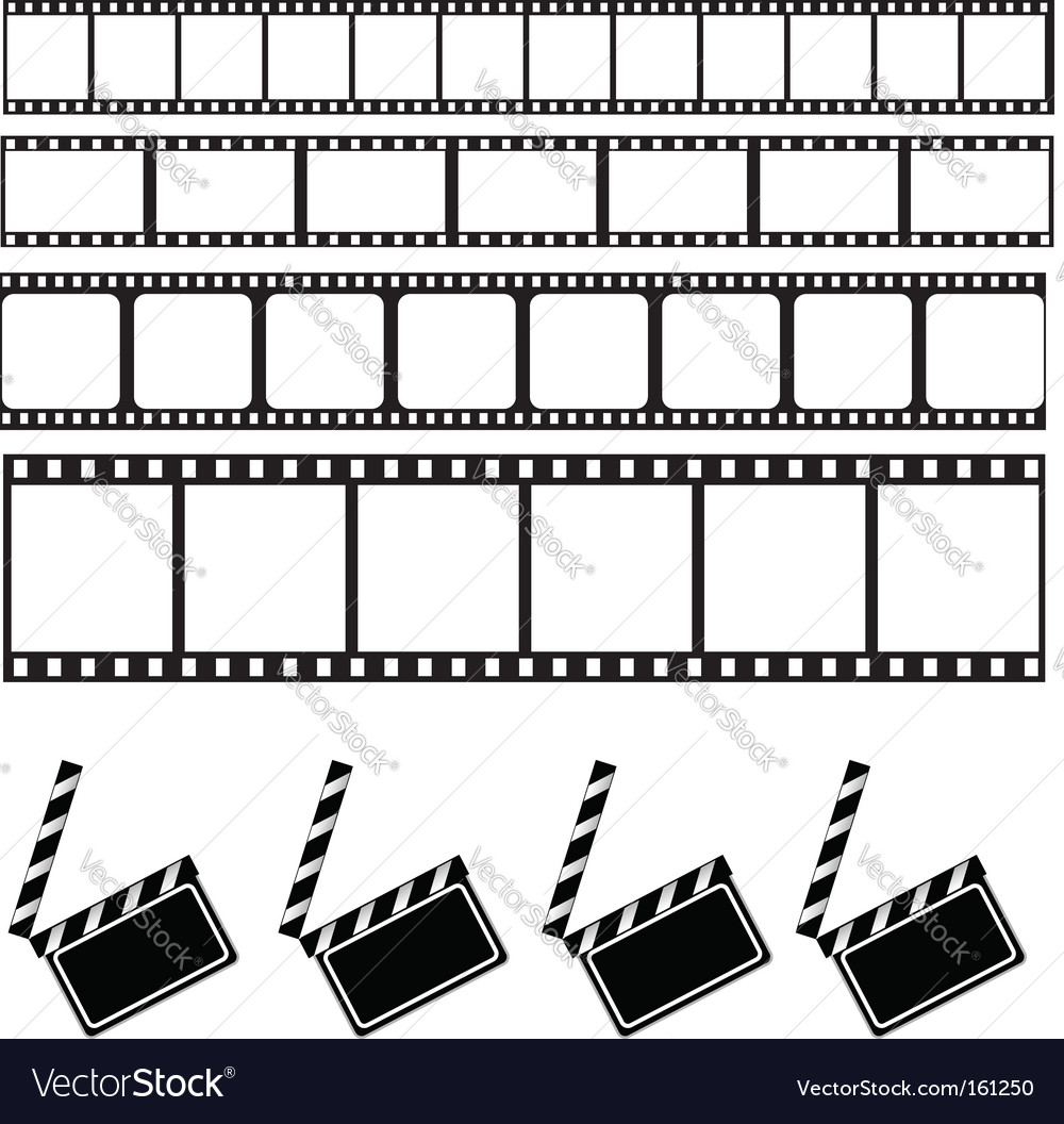 Clapper board and film frame vector | Price: 1 Credit (USD $1)